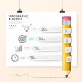 Vector pencil bar chart infographic elements Stock Images