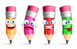 Vector pencil character or mascot colorful set with facial expressions Stock Images