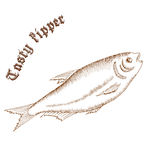 Vector pencil hand drawn illustration of fish with label. Tasty kipper Royalty Free Stock Images
