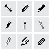 Vector pencil icon set. On grey background Stock Photos