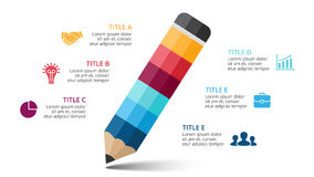 Vector pencil infographic, education diagram, knowledge chart, learn study graph presentation. Business write concept Stock Image