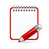 Vector pencil and notepad icon Stock Photos