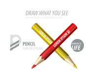 Vector pencil premium ad product template. Advertising packaging mockup for design with slogan Stock Photo