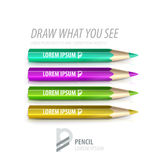 Vector pencil premium ad product template. Advertising packaging mockup for design with slogan Stock Image