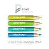 Vector pencil premium ad product template. Advertising packaging mockup for design with slogan Stock Photos
