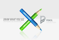 Vector pencil premium ad product template. Advertising packaging mockup for design with slogan Royalty Free Stock Photos