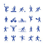 Vector pencil shape popular sports athletes icons. Royalty Free Stock Photography