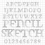Vector pencil sketched font Stock Photo