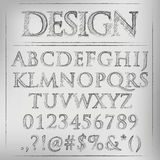 Vector pencil sketched font Stock Photography