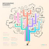 Vector pencil tree infographic elements Royalty Free Stock Images