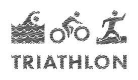 Vector pencil triathlon logo and symbol. Stock Photo