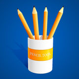 Vector pencils on blue background Stock Image