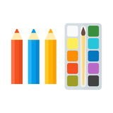 Vector pencils and paints illustration. Stock Photos