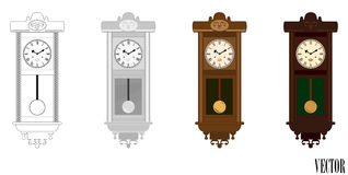 Vector: Pendulum Wall Wooden Clock in colour (color) variations Stock Photo