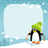 Vector penguin, winter snowy background Royalty Free Stock Images