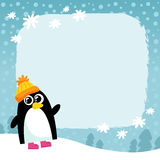 Vector penguin, winter snowy background Stock Photography