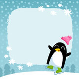 Vector penguin, winter snowy background Royalty Free Stock Photo