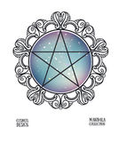 Vector pentagram with space background and mandala frame. Sacral vector illustration. Royalty Free Stock Images