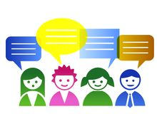 Vector people. Color people with speech bubbles Stock Photography
