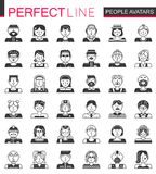 Vector People avatars classic black concept icons. Men and woman heads set. Vector People avatars classic black concept icons. Men and woman heads set Stock Images