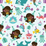Vector People of Color Mermaid Birthday Sea Friends Seamless Pattern Background royalty free illustration