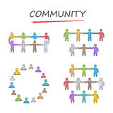 Vector people community. Linear community symbol. Stock Photography