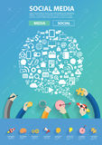Vector people connecting business software and social media networking Royalty Free Stock Photo