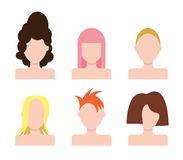 Vector people faces Icons set. Hairstyle Stock Image