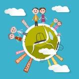 Vector People on Green Globe Illustration Stock Photo