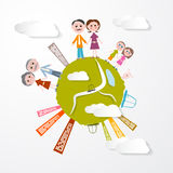 Vector People on Green Globe Illustration Stock Image
