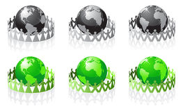Vector people have surrounded the earth stock illustration
