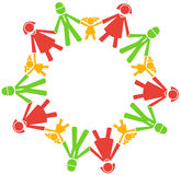 Vector people  hold hands. On the circle Royalty Free Stock Images