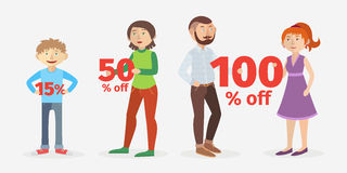Vector/ People holding percentage signs. Vector set illustration of p eople holding 15, 50, 100 percentage signs Royalty Free Stock Image