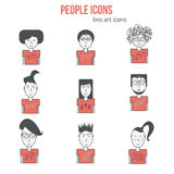 Vector People icons set in linear style. Modern people icons avatars. Hipster people icons. Can be used for banners and Stock Photos