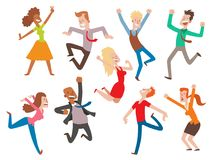 Vector people jumping celebration party illustration. Happy man and woman jump joy characters. Cheerful boys and girls Stock Photos