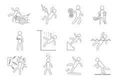 Vector people line icons in a variety of common. Accidents. Break and slipping, brick on head, hit car, shock electric, fall man Stock Photography