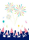 Vector : People with party hat celebrate at party with firework,. Happy New year party Stock Image