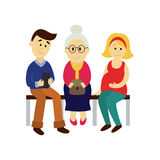 Vector people in public transport set isolated Royalty Free Stock Images