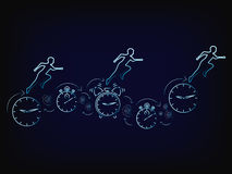 Vector of people running on time clocks Royalty Free Stock Images