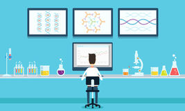 Vector people scientists research in laboratory process Stock Photography
