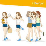 Vector people set. Beautiful women in lifestyle day Royalty Free Stock Image