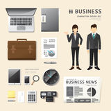Vector people set  business job character icons flat style with. Objects equipment. design layout set of corporate identity mock up template. illustration women Royalty Free Stock Photos