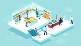 Vector of people shopping together at the grocery supermarket and buying food products stock illustration