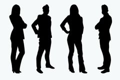 Vector Silhouettes Businessman Businesswoman Royalty Free Stock Photography