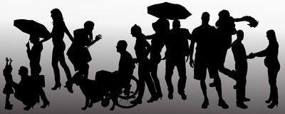 Vector people silhouette. Royalty Free Stock Images