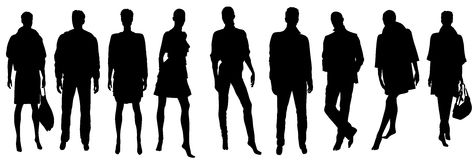 Vector people silhouettes Stock Images
