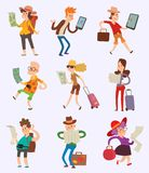 Vector people tourist with map travelers searching right direction way. Traveling man and woman touristic riut search. And active lifestyle concept. Smiling Stock Image