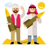 Vector People with warheads. Flat style colorful Cartoon illustration. Two men carry the ammunition in the desert. Isolated on a White Background Stock Images