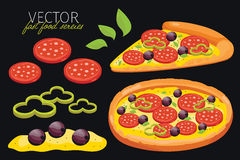 vector pepperoni pizza. Fast food set. Royalty Free Stock Photography