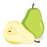 Vector a pera verde e uma metade de uma pera amarela. Foto de Stock